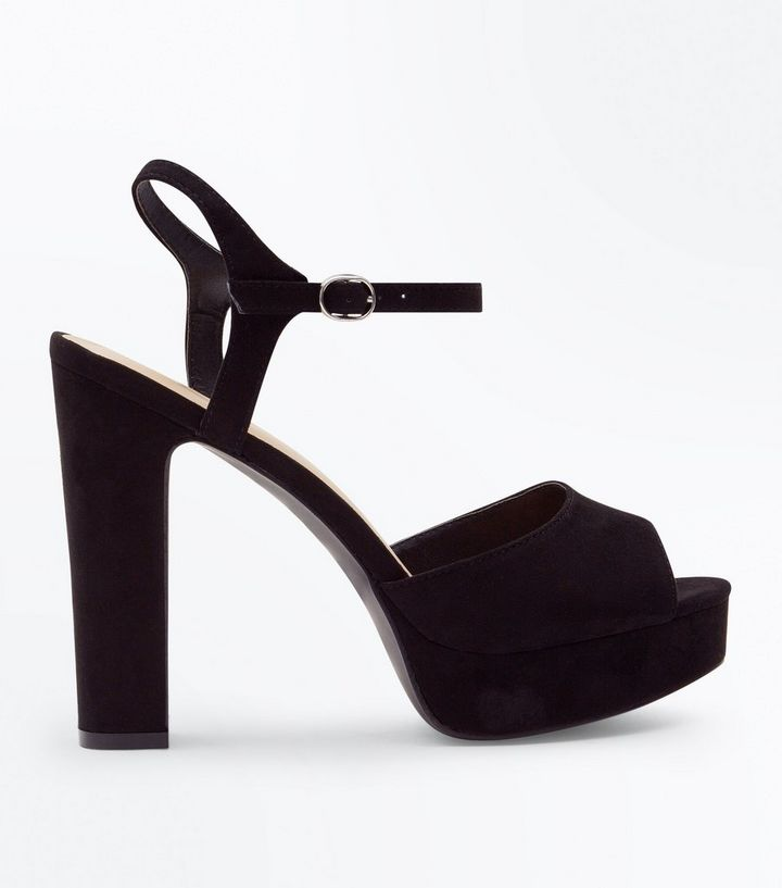 257fbf68c46 Wide Fit Black Suedette Platform Peep Toe Heels