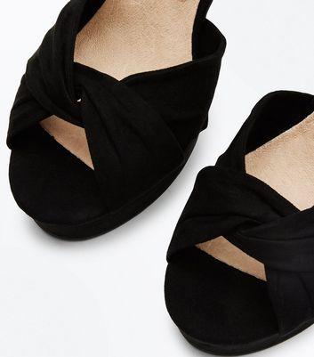 Wide Fit Black Comfort Flex Suedette Platform Block Heels New Look