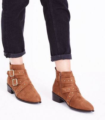 Wide Fit Tan Suedette Stud Buckle Ankle Boots New Look