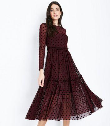 Burgundy Flocked Mesh Frill Waist Midi Dress New Look