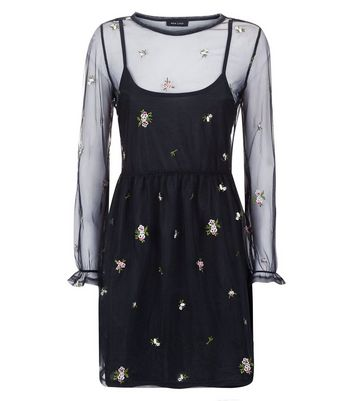 Black Floral Embroidered Mesh Long Sleeve Dress New Look