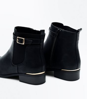 Black Buckle Chelsea Boots New Look