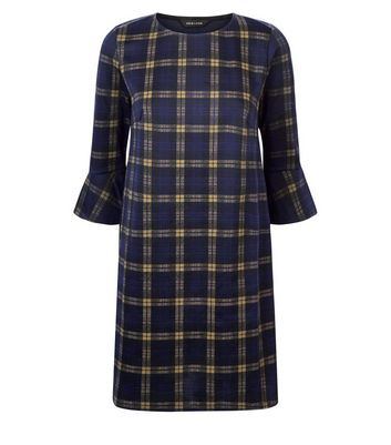 Navy Check Bell Sleeve Tunic Dress New Look