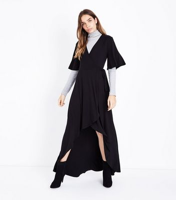 Black Wrap Front Dip Hem Jersey Maxi Dress New Look
