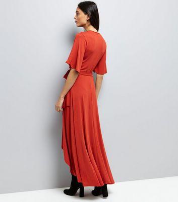 Rust Wrap Front Dip Hem Maxi Dress New Look