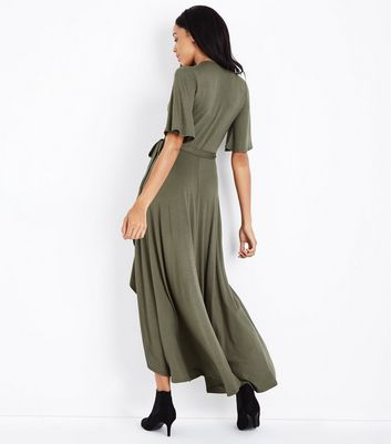 Khaki Wrap Front Dip Hem Maxi Dress New Look