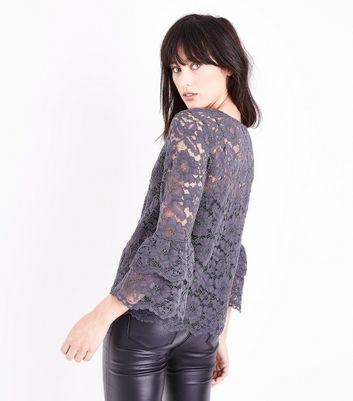 Grey Floral Lace Tiered Sleeve Top New Look