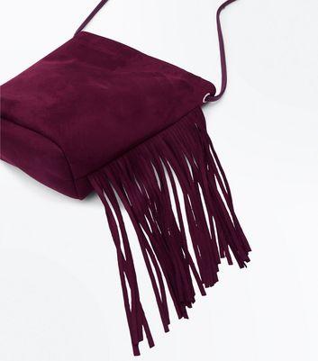 Burgundy Fringe Side Cross Body Bag New Look