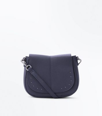 Navy Studded Front Saddle Bag New Look
