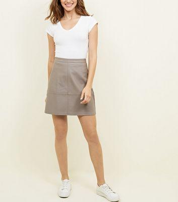 Tall Mink Leather-Look Mini Skirt New Look