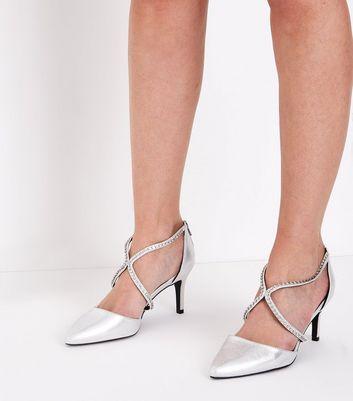 Wide Fit Silver Metallic Diamante Cross Strap Heels New Look