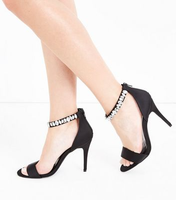 Wide Fit Black Satin Gem Strap Stiletto Sandals New Look