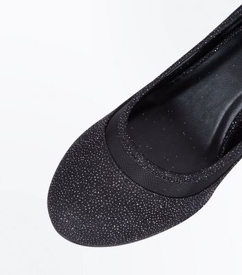 Black Glitter Mesh Trim Round Toe Courts New Look