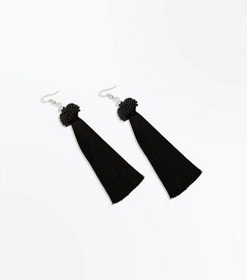 Black Knot Tassel Drop Earrings New Look