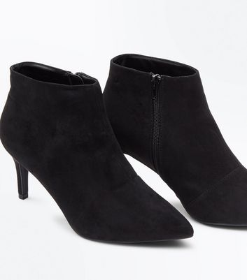 Wide Fit Black Suedette Stiletto Heel Ankle Boots New Look