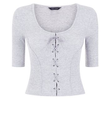 Grey Marl Ribbed Lace Up 1/2 Sleeve Top New Look