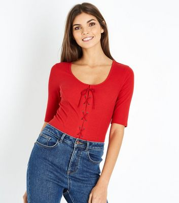 Red Ribbed Lace Up 1/2 Sleeve T-Shirt New Look