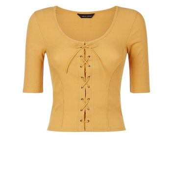 Mustard Ribbed Lace Up 1/2 Sleeve Top New Look