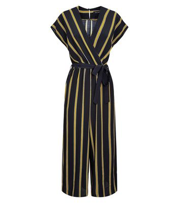 Black Stripe Wrap Culotte Jumpsuit New Look