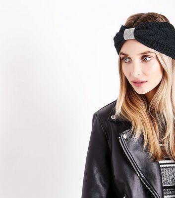 Black Diamante Embellished Plaited Headband New Look