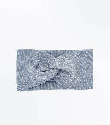 Grey Diamante Embellished Twist Front Headband New Look
