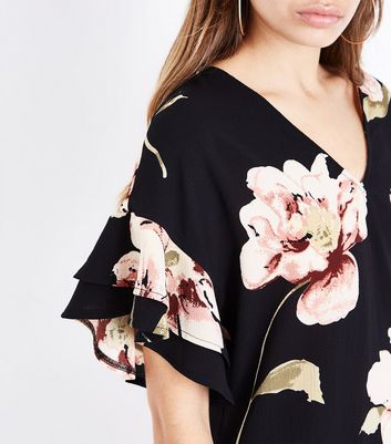 Black Floral Bar Back Frill Sleeve Tunic Dress New Look