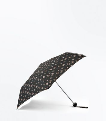 Black Floral Print Collapsible Umbrella