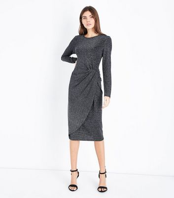 Blue Vanilla Silver Metallic Knot Side Dress New Look