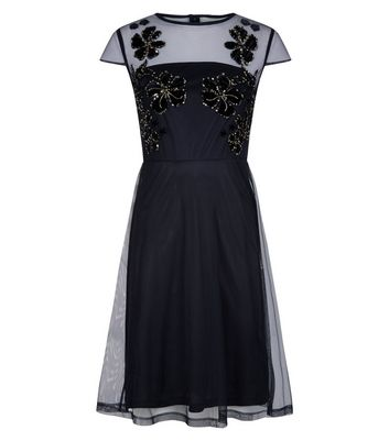 Blue Vanilla Black Embellished Mesh Skater Dress New Look