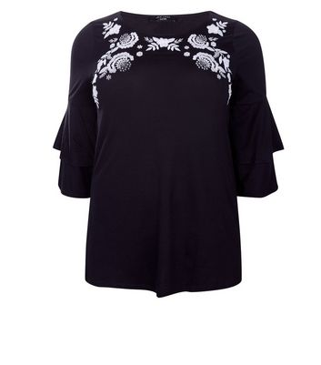 Curves Black Floral Embroidered Frill Sleeve Top New Look