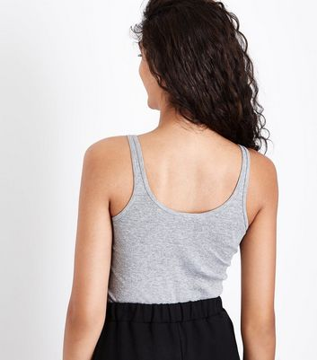 Grey Popper Front Vest Top New Look