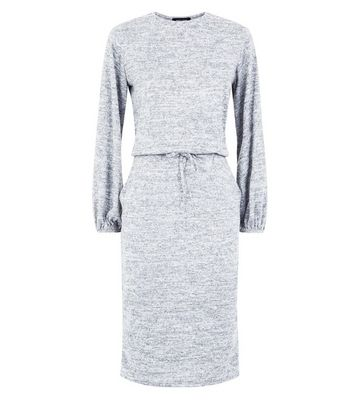 Grey Fine Knit Drawstring Waist Tunic Dress New Look