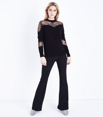 Cameo Rose Black Lace Insert Jumper New Look