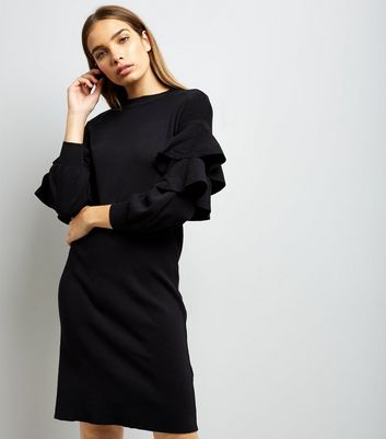 Cameo Rose Black Frill Trim Sleeve Jumper Dress New Look