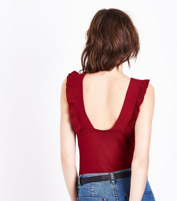 Cameo Rose Red Frill Trim Ribbed Vest Top New Look