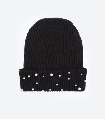 Black Ribbed Knit Pearl Bead Beanie New Look