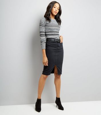 Cameo Rose Grey Stripe Ribbed Jumper New Look