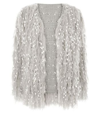 Cameo Rose Grey Textured Fluffy Cardigan New Look