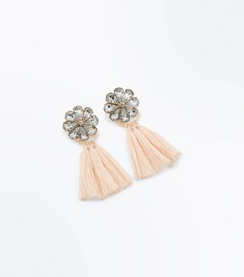 Shell Pink Gem Flower Tassel Earrings New Look