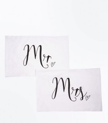 White Mr And Mrs Pillow Case Set New Look