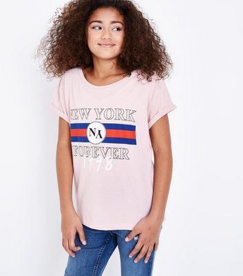 Teens Pink New York Forever Puff Print T-Shirt New Look
