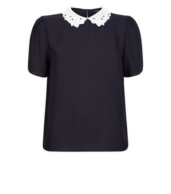 Petite Black Lace Collar Short Sleeve Blouse New Look