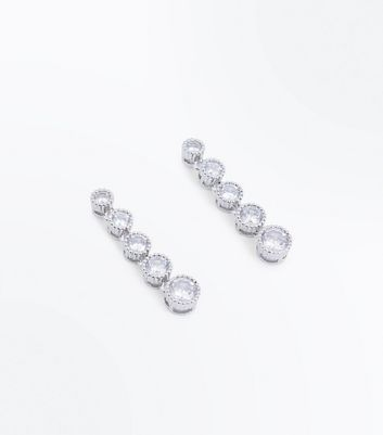 Silver Cubic Zirconia Round Drop Earrings New Look