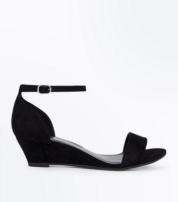 Teens Black Suedette Wedge Sandals New Look