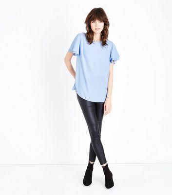 Pale Blue Tiered Sleeve Step Hem Top New Look