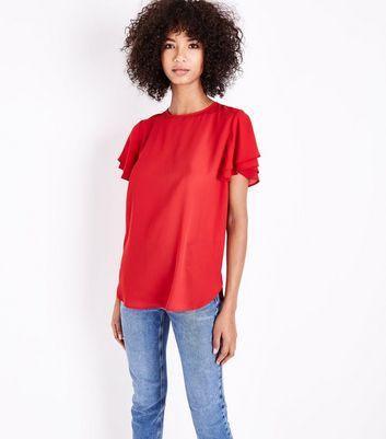 Red Tiered Sleeve Step Hem Top New Look