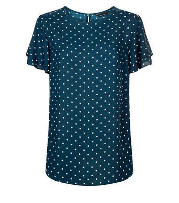Green Polka Dot Print Tiered Sleeve Top New Look