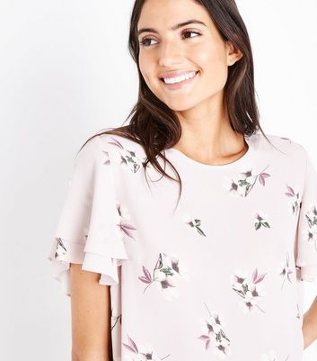 Pink Floral Tiered Sleeve Top New Look