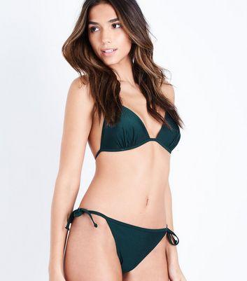 Teal Moulded Triangle Bikini Top New Look