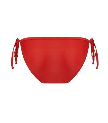Red Tie Side Bikini Bottom New Look